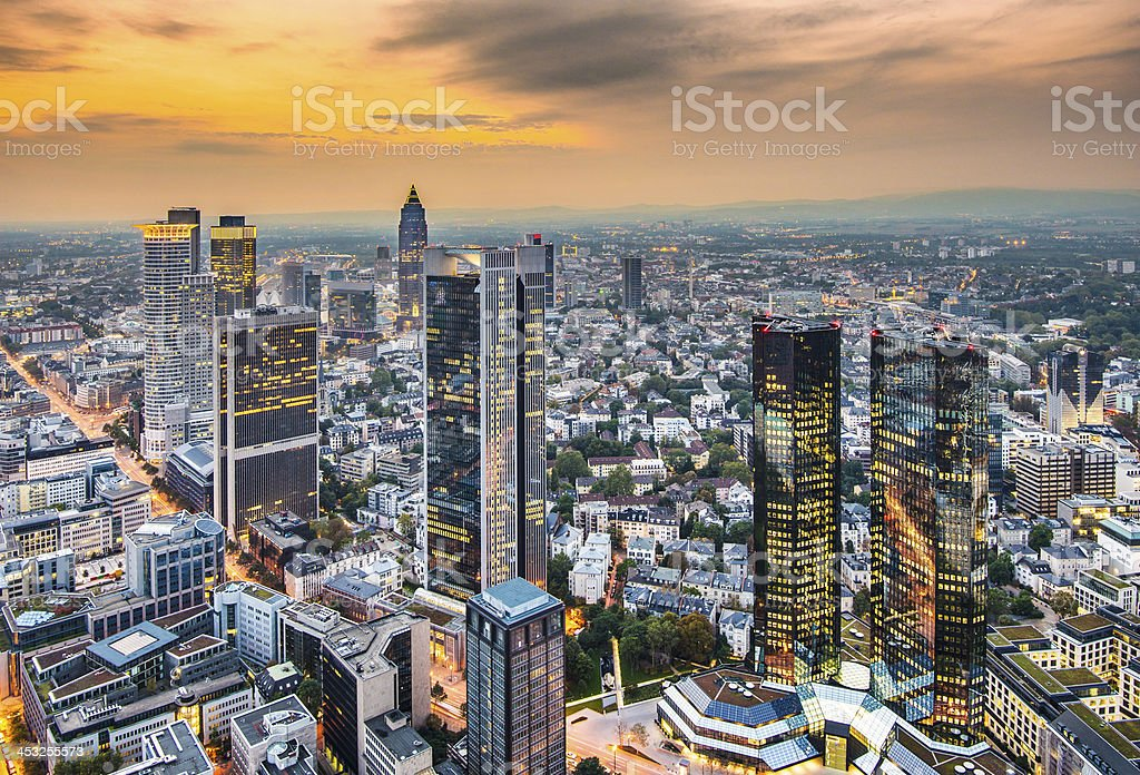 Sky high modernistic view of Frankfurt Germany stock photo