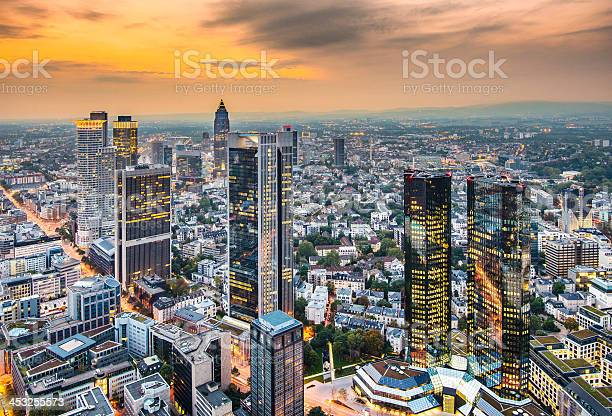 Sky high modernistic view of Frankfurt Germany