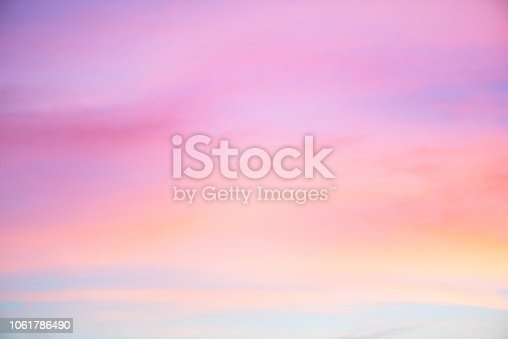 Sky in the pink and blue colors. effect of light pastel colored of sunset clouds cloud on the sunset sky background with a pastel color