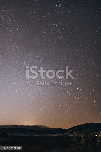 809971888istockphoto sky landscape at night with visible stars and the city lights behind the mountain 1071244262