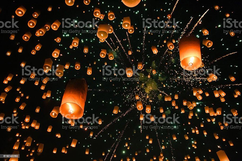 Sky lantern stock photo