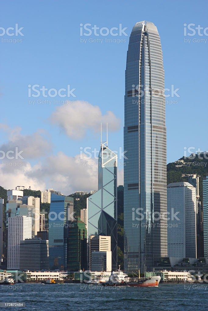 Sky line across water of international finance center stock photo