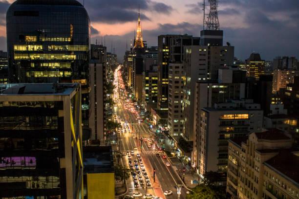 Sky line of Sao Paulo city at night stock photo