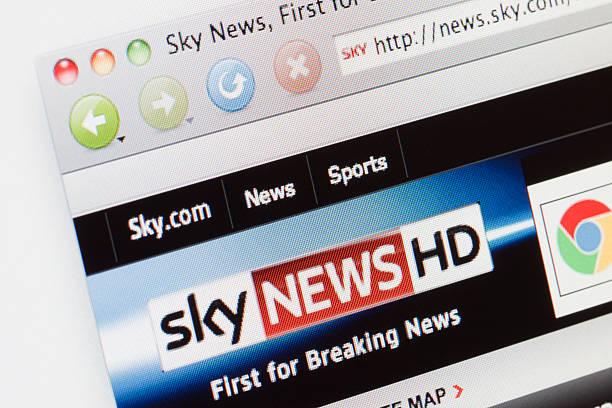 Sky News webpage on a web browser. stock photo