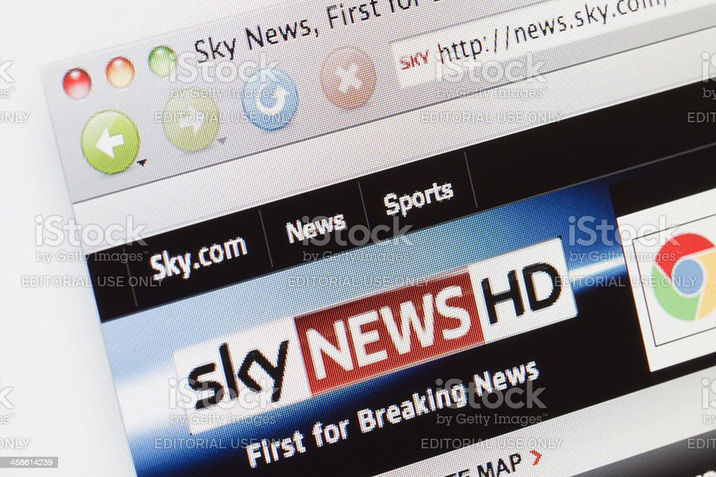 Sky News webpage on a web browser. stock photo
