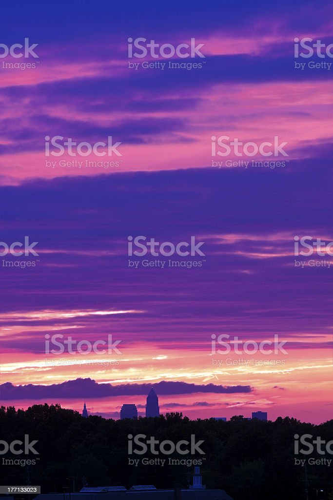 Sky on fire in Cleveland stock photo