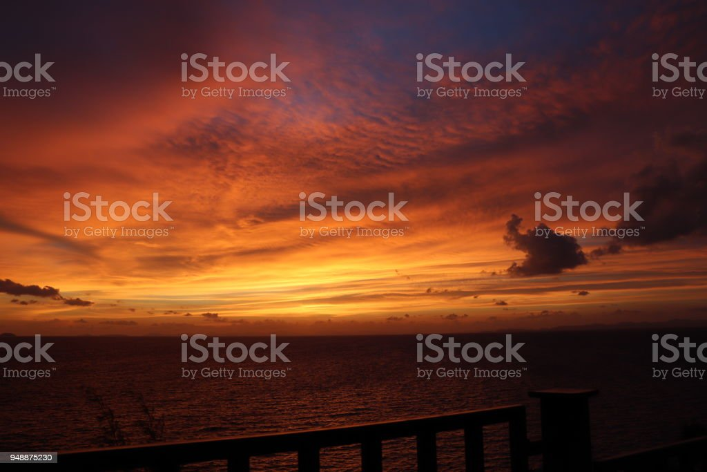 Sky on Fire - Sunset on Ko Phi Phi stock photo
