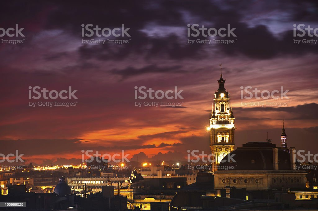 Sky over belfry and buildings in main square in Lille France stock photo