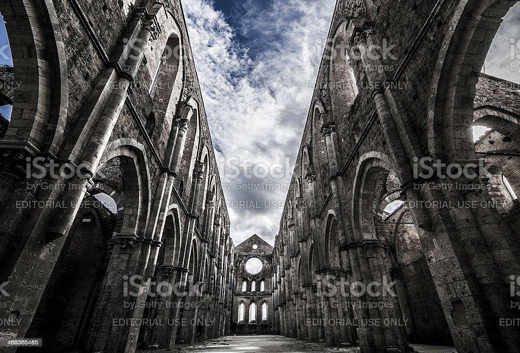 sky over medieval san galgano abbey stock photo