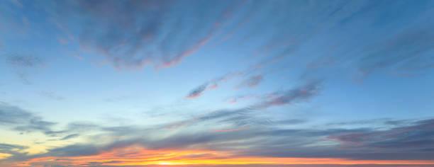 Sky panorama at twilight time stock photo