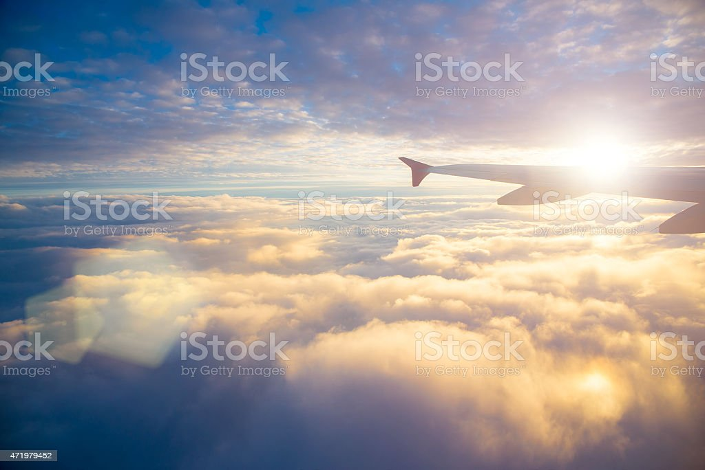 sky view from the airplane window at the sky 2015 Stock Photo