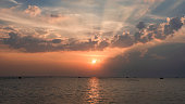 Beautiful sunset landscape view on sea with colorful of sky located at south of Thailand