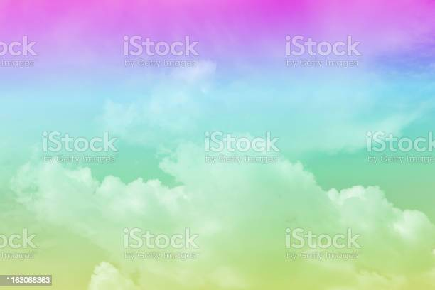 Photo of Sky pink and blue with a pastel colored. Abstract sky for background or wallpaper.