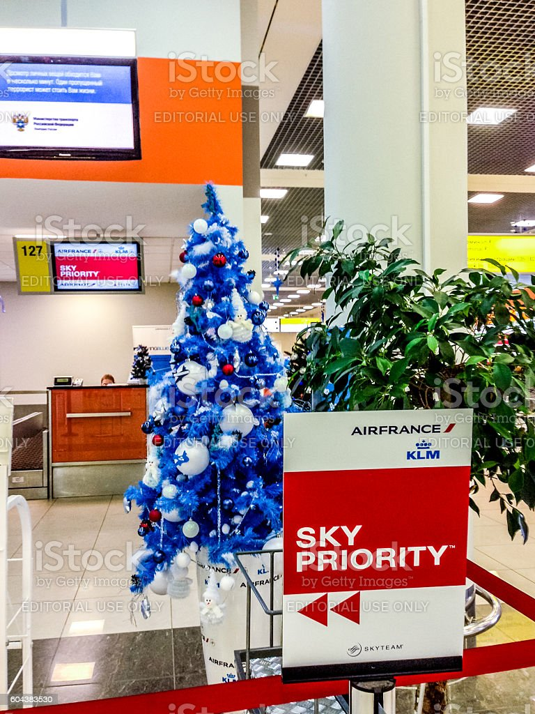 Sky Priority Sign and Christmas tree at Moscow airport, Russia stock photo