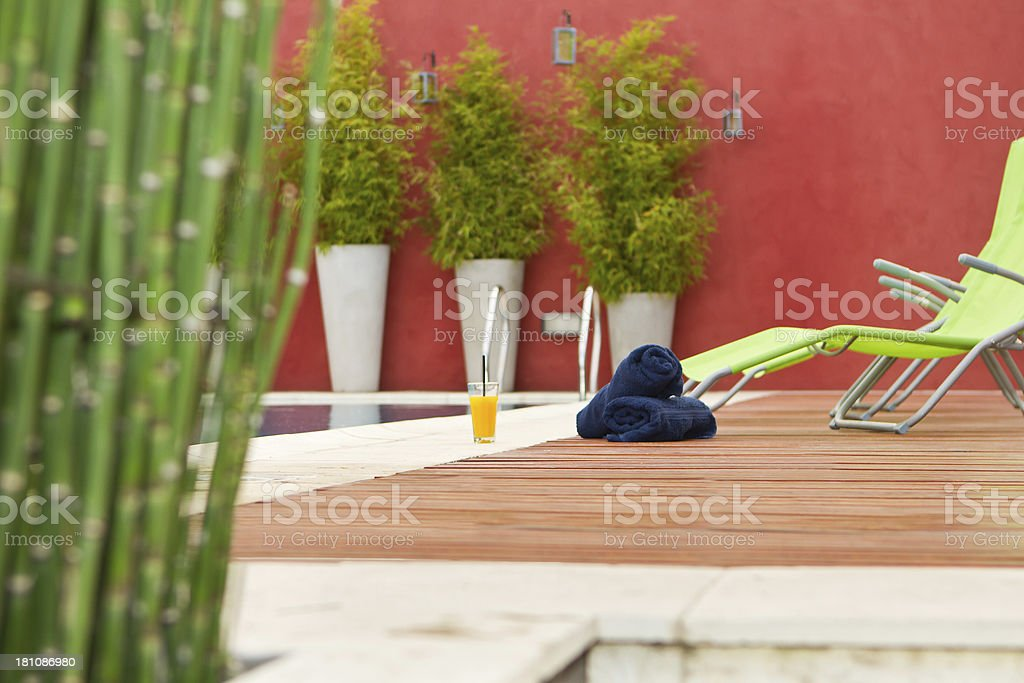 Sky reflected on swimming pool royalty-free stock photo