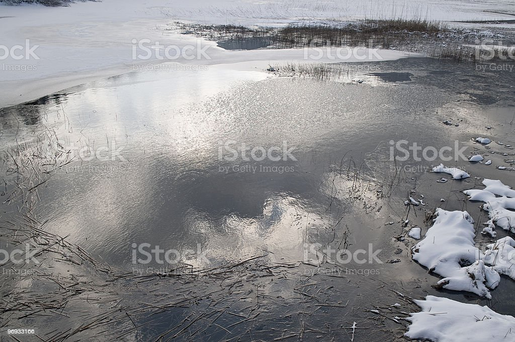 Sky Reflecting in Icy Water royalty-free stock photo