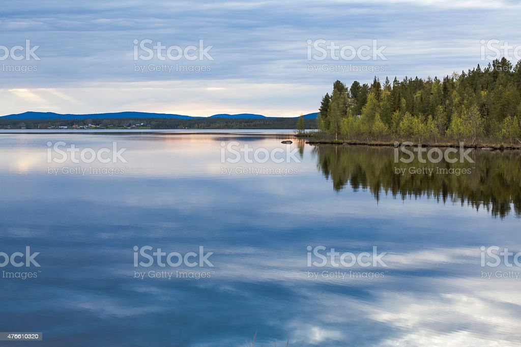 Sky reflection in Lule river stock photo