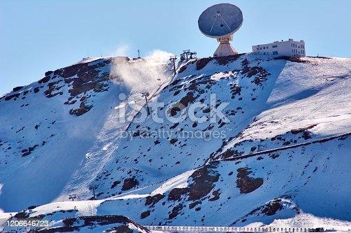 View of the Ski Resort of Sierra Nevada in Granada Spain, In the low Snow season. Using artificial Snow cannons