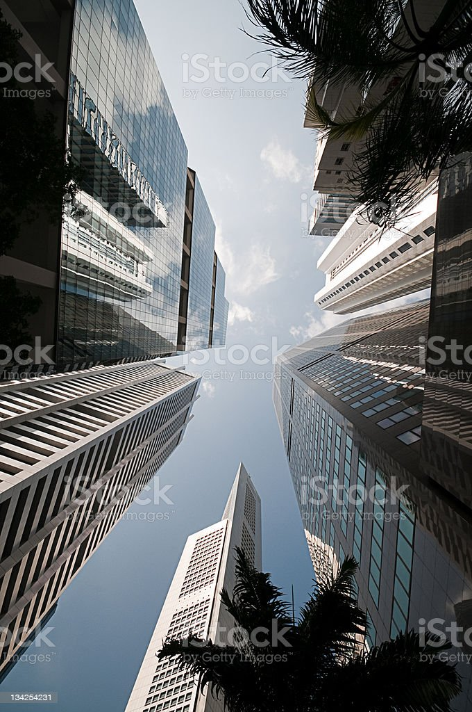 Sky Scrapers reach into the sky showing sky and perspective royalty-free stock photo