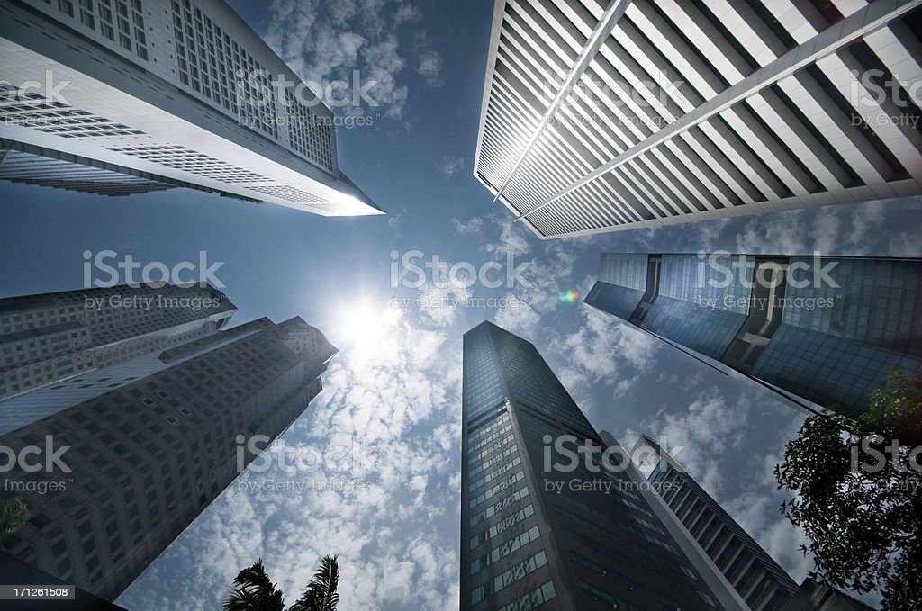 Sky Scrapers reach into the sky showing sky and perspective stock photo