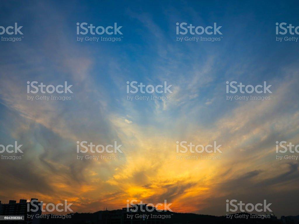 sky sunset in seoul korea stock photo