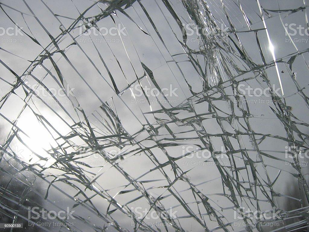 Sky through broken window royalty-free stock photo