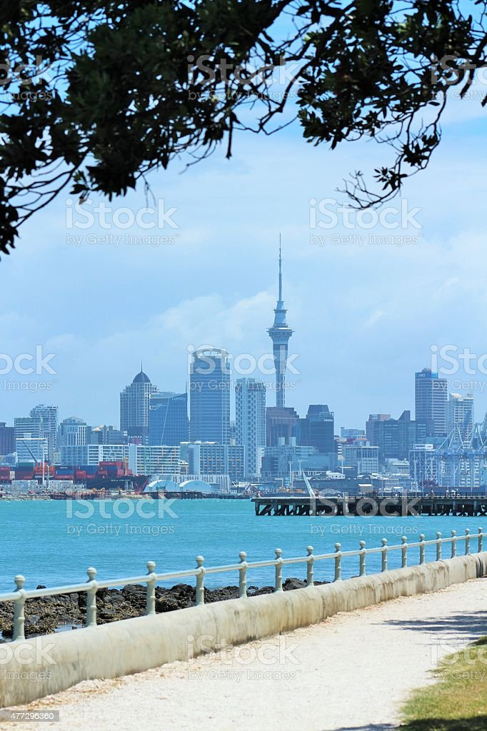 Sky Tower and Auckland City stock photo