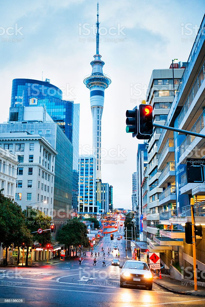 Sky Tower on the skyline of Auckland, New Zealand stock photo