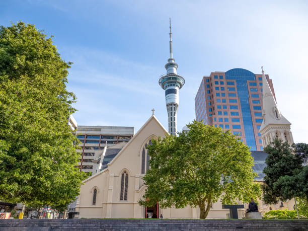 Sky Tower with St Patrick's Cathedral in Auckland city of New Zealand. stock photo