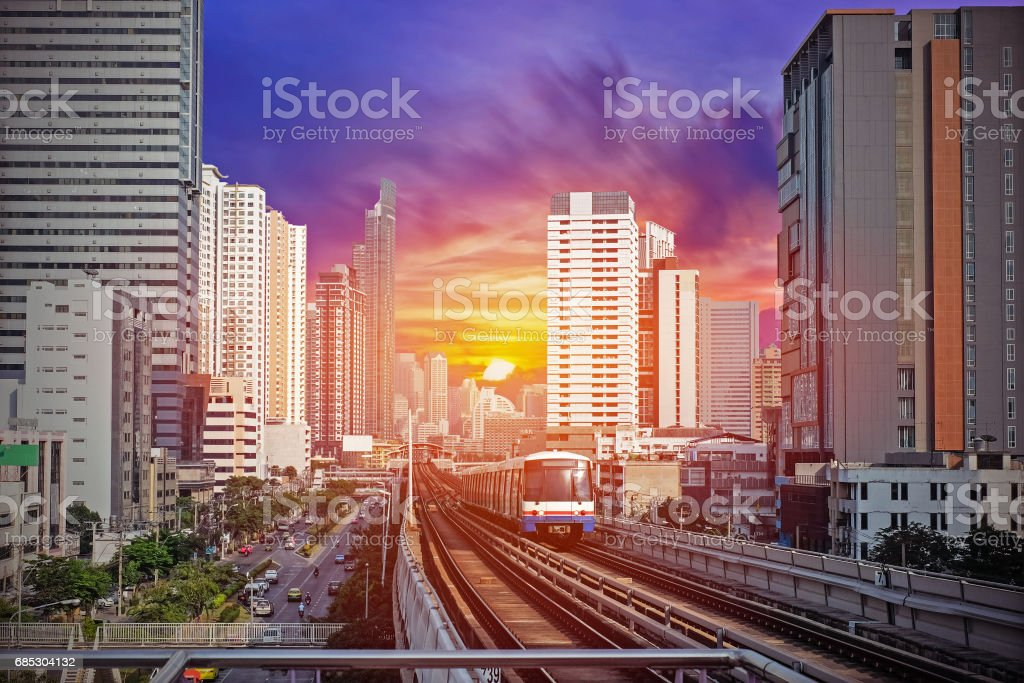Sky Train at bangkok,thailand stock photo