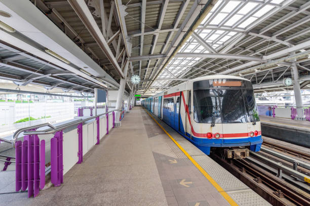 sky train bangkok coming in station for passenger the people stock photo
