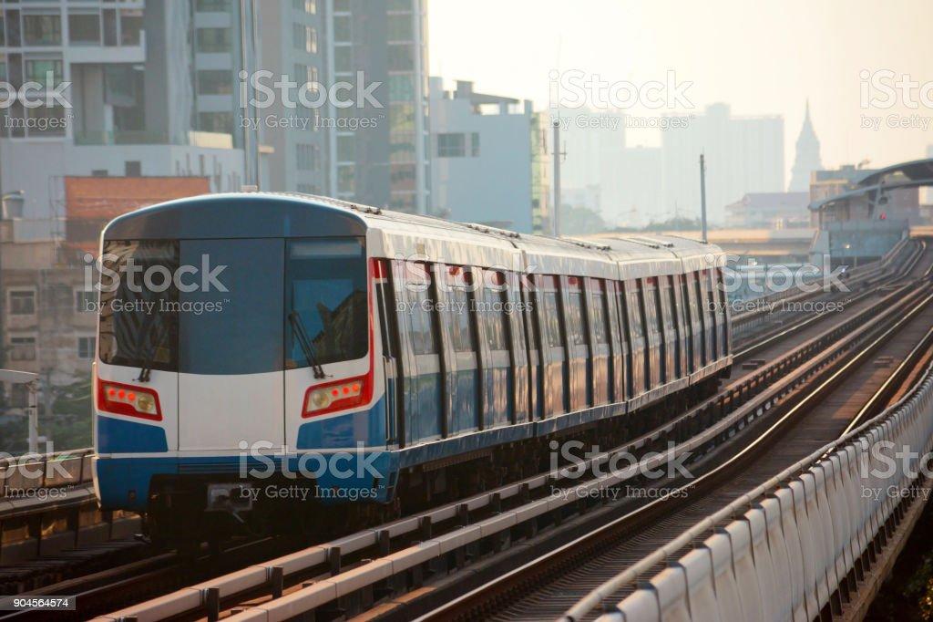 Sky train in Bangkok stock photo