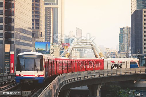 Bangkok-Thailand - 18 July 2016 : BTS sky train hight speed for people travelling in capital city Bangkok, Thailand