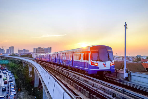 BTS Sky train Bangkok-Thailand APR 4 2016: BTS Sky train mass transit system in Bangkok to help facilitate and speed the journey. With the traffic jams in the evening after work electric train stock pictures, royalty-free photos & images