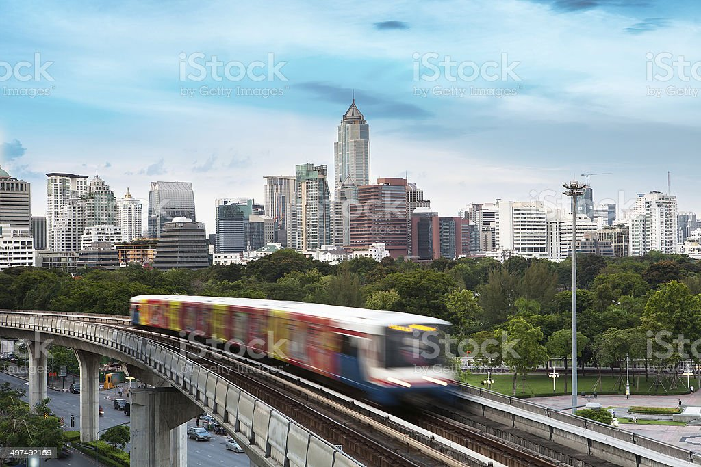 Sky train, The rush hour of bangkok business district stock photo