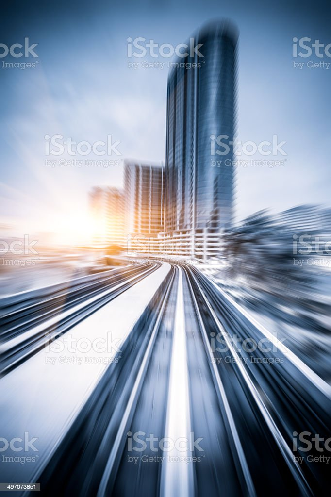 Sky train through city center in Kuala Lumpur,motion blur stock photo
