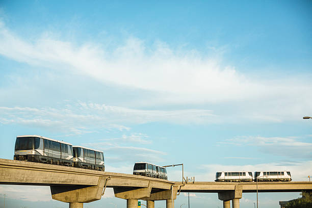 Sky trains traveling on rails to Phoenix Sky Harbor Airport stock photo