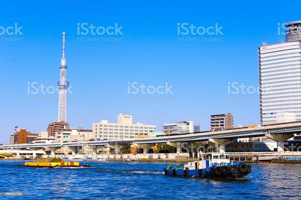 Sky Tree and Sumida River stock photo