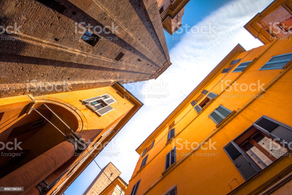 Sky view of Bologna towers and medieval buildings, Bologna, Emilia-Romagna, Italy stock photo