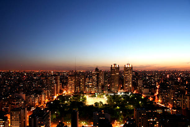 Sky view of Buenos Aires City during Sunrise stock photo