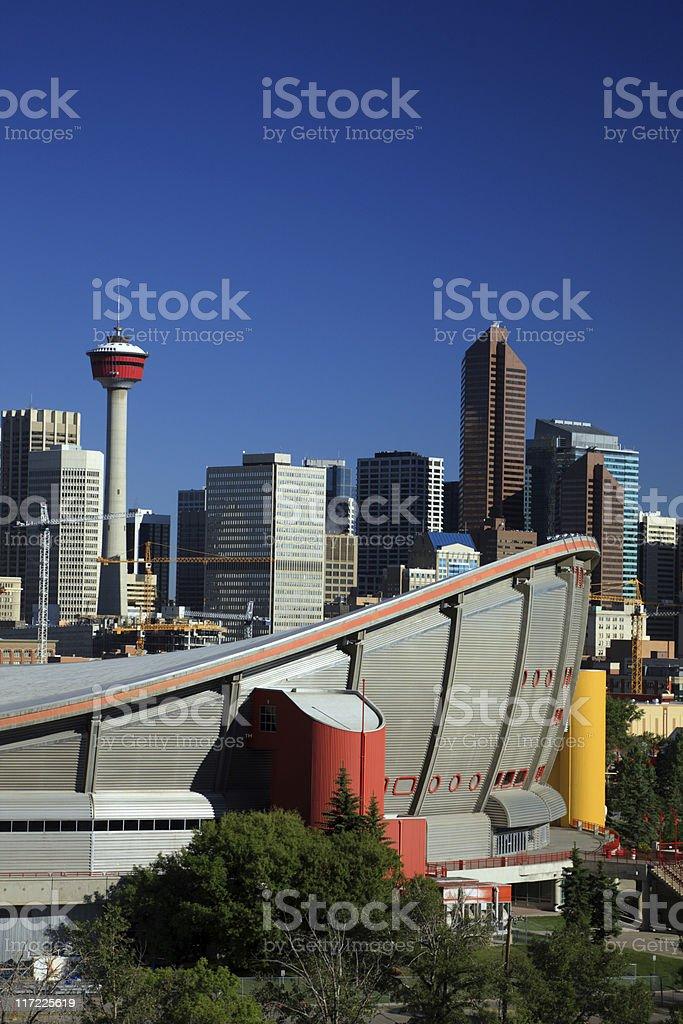 Sky view of city of Calgary, Canada stock photo