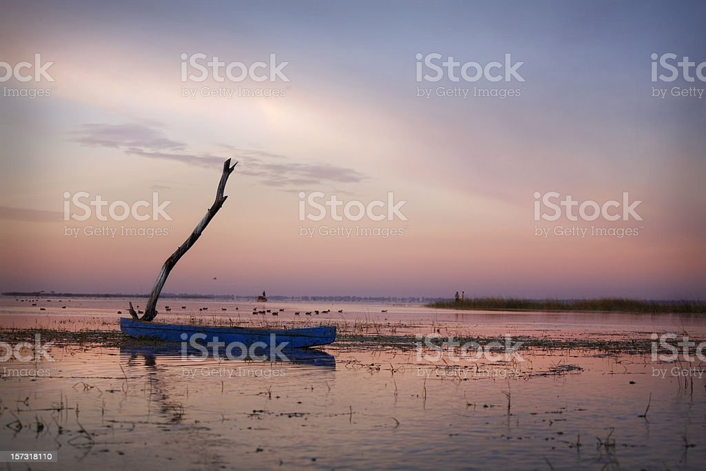 A sky view of the sunset in Nalsarovar India stock photo