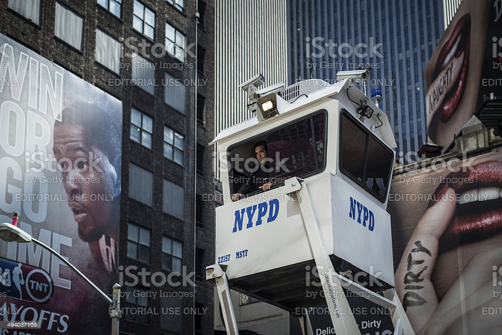 Sky Watch platform and NYPD patrol stock photo