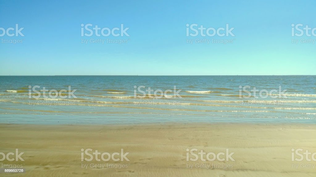 Sky, Waves, and Sand at El Jardin Beach stock photo