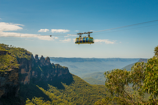Sky Way cable car at Blue Mountains, in Scenic World, one of famous tourist attractions in Katoomba, New South Wales, Australia