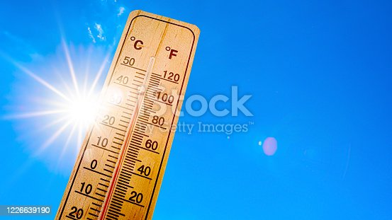 istock Sky with bright sun and thermometer 1226639190