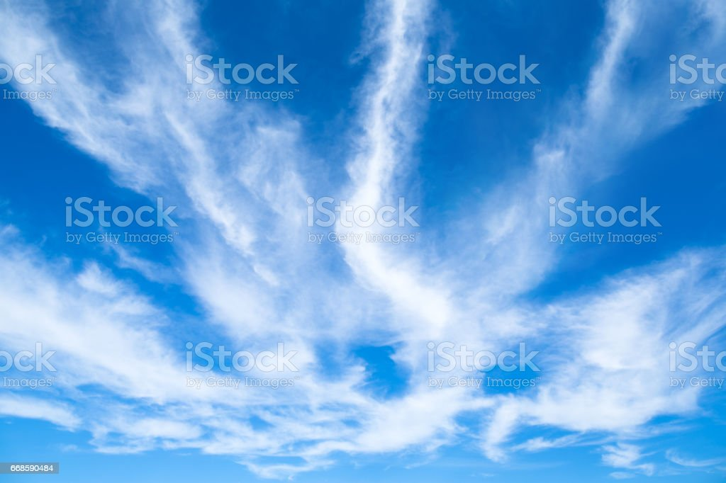 Sky with cirrus clouds background stock photo