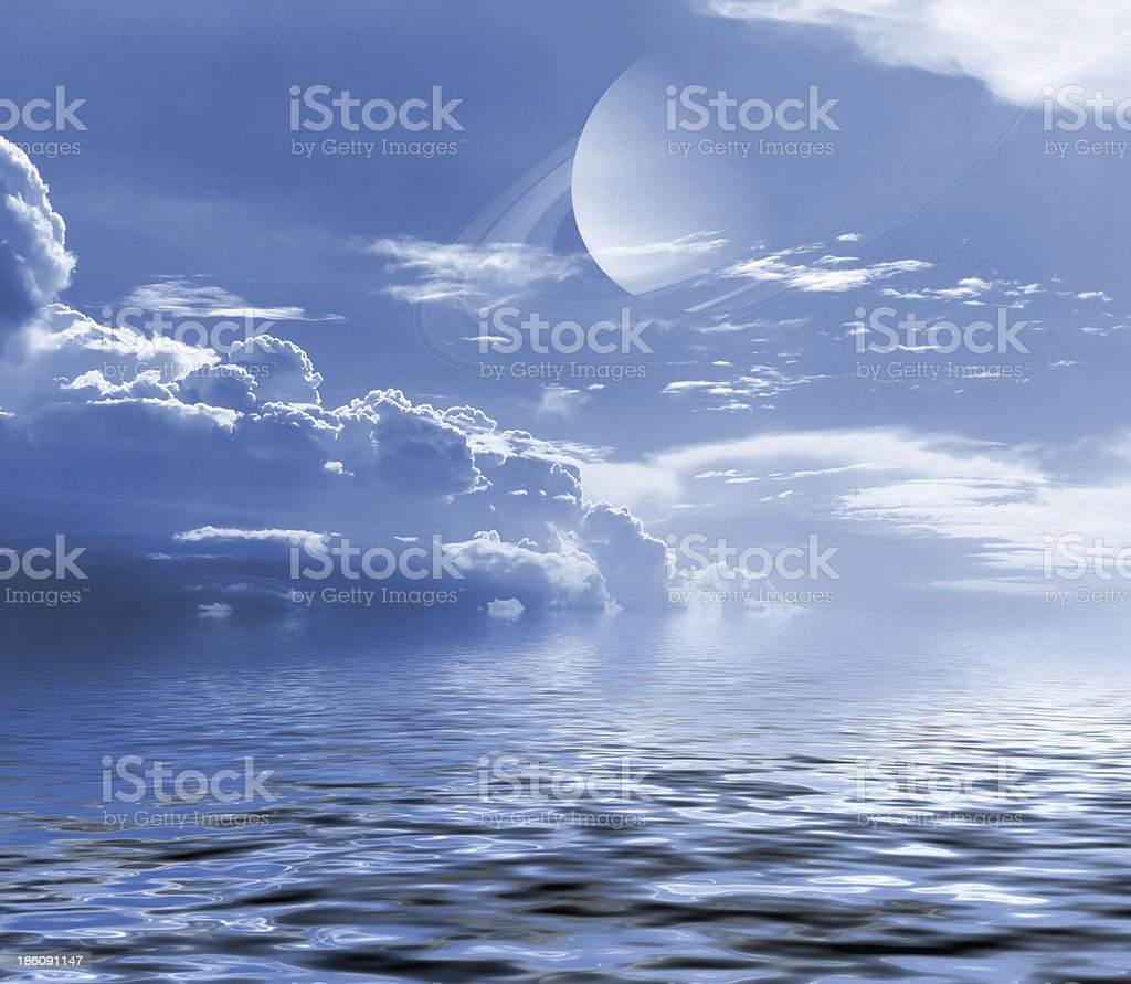 Sky with cloud and planet. royalty-free stock photo