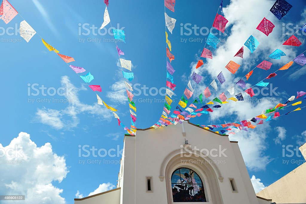 Sky with flags stock photo