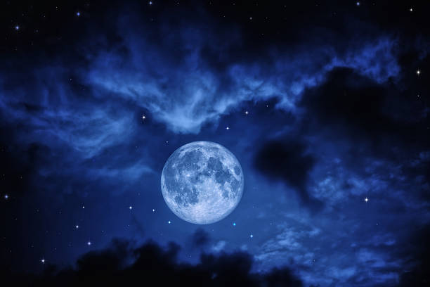sky with full moon - romantic moon stock photos and pictures